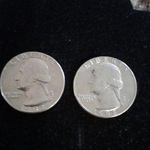 2 Washington Silver Quarters